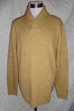 Alan Flusser XXL / 2XL Camel Brown Cowl Collar Lambs Wool Blend Pullover Sweater