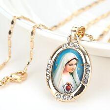 18K chapado en oro hermoso Jesús Virgen María Cruz Colgante + UK LIBRE de cadena
