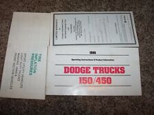 1981 Dodge Truck 150/450 Owner User Guide Operator Manual 3.9L 5.2L V6 V8