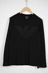EMPORIO ARMANI Men's MEDIUM Black Long Sleeve Logo Print T-Shirt 35810_GS