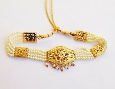 Plated Pearl Necklace Wedding Jewelry Indian Traditional Collar Necklace Gold