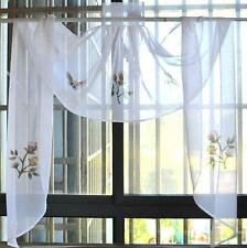 Pretty Rose Butterfly Embroidery Sheer Curtain White Swag One Piece