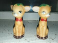 Vintage Holiday Deer Salt & Pepper Shakers