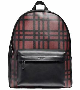 COACH CHARLES BACKPACK WITH WILD PLAID PRINT MSRP: $550.00