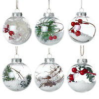 80MM Clear Glass Fillable Hanging Ball Sphere Baubles Christmas Tree Decorations