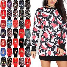 Womens Christmas Fleece Ladies Santa Reindeer Xmas Knitwear Tunic Jumper Dress