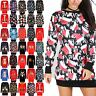 Womens Christmas Fleece Ladies Santa Reindeer Xmas Knitwear Tunic Jumper Dress