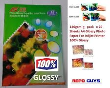 140gsm 2 packs x 20 Sheets A4 Glossy Photo Paper For Inkjet Printer 100% Glossy
