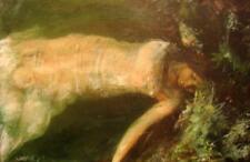 "Nuevo William Oxer Original ""Ofelia desenmascarado"" pre-prerrafaelistas Niña Mujer Pintura"
