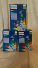NEW! 3 Boxes Philips  Multi Color Christmas Lights 60 ct White Wire