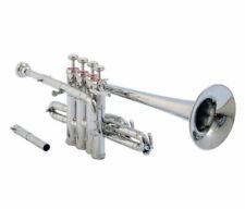 Pro Piccolo Trumpet Chrome Finish Bb/A Pitch Professionals Choice w/ Hard case