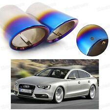 2Pcs Car Exhaust Muffler Tip Tail Pipe End Trim Blue for Audi A5 2012-2017 #2034
