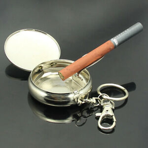 new Portable Mini Ashtray Stainless Steel with Key Ring Pocket Cigarette Rest