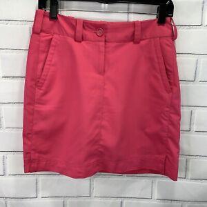 Nike Golf Tour Performance Dri Fit Womens Size 2 Front Zip Golf Skort Pink D7