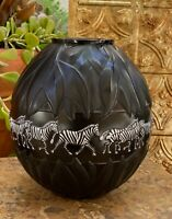 Lalique Tanzania Vase  Black & White Enameled Zebra Decoration Perfection
