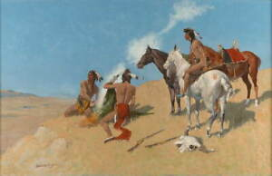 Frederic Remington The Smoke Signal Poster Reproduction Giclee Canvas Print