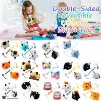 Reversible Plush Toys Double-sided Flip Happy Sad Stuffed Animal Doll Kids Gift