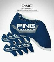 (US BUYER) PING Golf Iron Club Head Cover (9pcs) / Navy Neoprene
