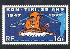 Polynésie Française 1972 Kon-Tiki/Bateaux/Voile/Exploration/transport 1 V (n37516)