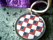 USA Flag Custom Pet ID Tags Dog Collar Charms
