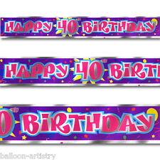 12ft Purple Red Happy 40th Birthday Party Foil Banner Decoration