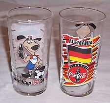 1994 FIFA WORLD CUP COCA COLA PROMOTIONAL GLASS FOR GERMAN SOCCER TEAM SET OF 8