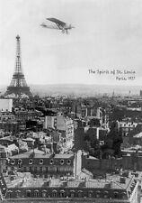 SPIRIT OF ST LOUIS OVER PARIS - VINTAGE POSTER 24x36 - EIFFEL TOWER 36505