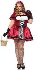 Leg Avenue Women's 3X/4X Gothic Red Riding Hood Halloween Costume with Gloves