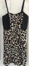Gianni Bini Brown Black Silk Leopard Print Cocktail Social Dress 6 Retails $119