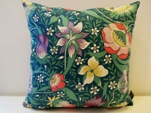 Liberty Arts Nesfield Cotton Floral Flowers & Teal Velvet Fabric Cushion Cover