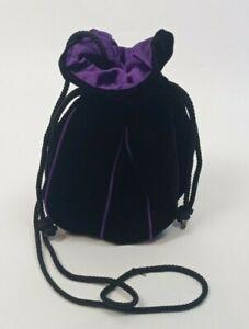 BLACK VELVET VELOUR DRAWSTRING SHOULDER / WRIST Bag Handback Sack Pouch ~Purple