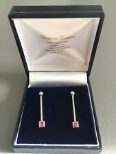 18ct White Gold Pink Sapphire & Diamond Earings