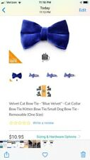 Made By Cleo Blue Velvet Cat Or Dog Collar Bow FREE SHIPPING