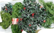 Vintage Plastic Holly Red Berry & Green Leaves & Branch Christmas Garland lot