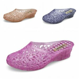Women Jelly Hollow Out Wedge Sandals Summer Slippers Mules Casual Flat Shoes Fit