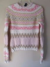 GAP Women's Mohair Wool Crewneck Pink/Ivory Chunky Nordic Sweater Size M