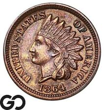 1864 Indian Head Cent Penny, Bronze, Better Date