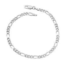 Damen Figaroarmband 925 Sterling Silber rhodiniert 3,5mm 17 - 21 cm Figarokette