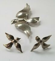 "Vintage Silver 3"" Bird Brooch Pendant and Screw Back Earring Set with Gift Box!"