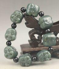 China old natural hetian jade bangle Chinese jade double buddha beads Bracelet