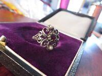 Schöner 835 Silber Ring Jugendstil Art Deco Perle Gründerzeit Granat Elegant Top