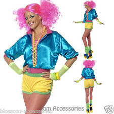 CL416 Womens Skater Girl Costume 1980's Disco Retro Neon Fancy Dress Up Outfit