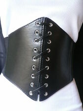 WOMEN BLACK WIDE CORSET HIGH WIAST CHIC KNOT TIE BELT FAUX LEATHER FITS XS S M