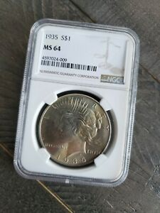 1935 P Peace Silver Dollar NGC MS64 Light Toning, Brilliant Luster