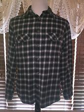 Mens VGUC FIELD & STREAM LS L Large Dark Gray/White Flannel Twin Pocket Shirt