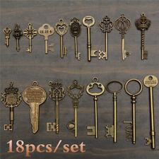 18 Pcs Antique Vintage VTG Old Look Skeleton Keys Bronze Steampunk Pendant Alloy