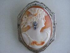 Antique Estate 1800 Large 14k White Gold Cameo Diamonds Habille Filigree Brooch