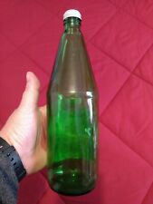 VINTAGE CANADA DRY GINGER ALE GLASS GREEN  BOTTLE W/ Paper Label 28 OUNCES