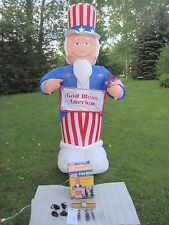 Airblown Inflatable Gemmy 8' Tall 4th July Labor Day Uncle Sam God Bless America