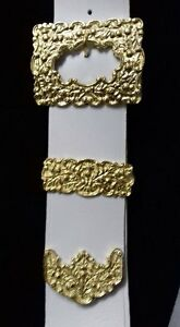 Pipe Majors / Drum Majors Cross Belt White Leather With Golden Buckle